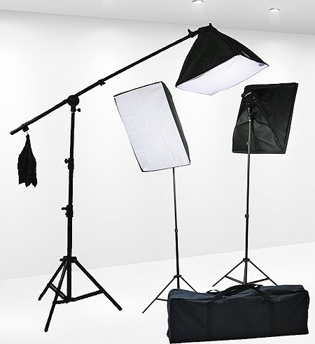 Fancierstudio Lighting Kit 2400 Watt Professional Video Lighting Kit With Three Softbox Lights, Boom Arm Hairlight Softbox, Lighting Kit for Studio Photography and Continuous Lighting (9004SB2) (Studio Continuous Lighting Kit)