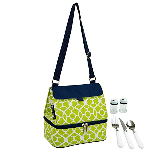 (Picnic at Ascot Fashion Insulated Lunch Bag With Service For One, Trellis Green)