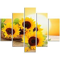 PulsatingFingertip-5 Panel No Framed Rolled Sunrise Landscape Oil Painting Modern Sunflower Picture Canvas Prints for Living Room Décor No Frame
