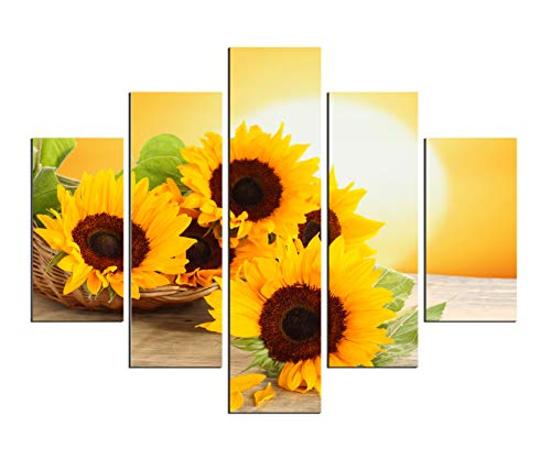 PulsatingFingertip-5 Panel No Framed Rolled Sunrise Landscape Oil Painting Modern Sunflower Picture Canvas Prints for Living Room Décor No Frame