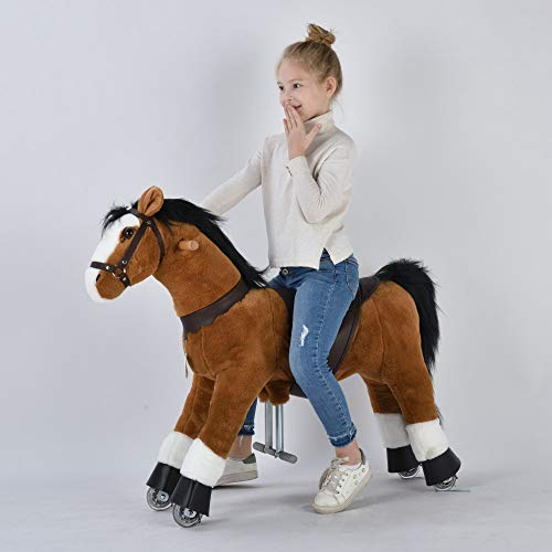 UFREE Ride on Horse Toy for Kids 4-9 Years Old, Height 36 Inch Adjustable Paddle for Different Ages Birthday Gifts for Your Dear Baby Cute Pony Ride on Toy for Toddlers(Brown, Medium)