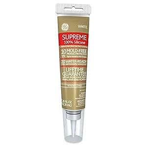 GE Supreme 100% Silicone 30 Min. Water-Ready caulk, 10.1 oz cartridge, White