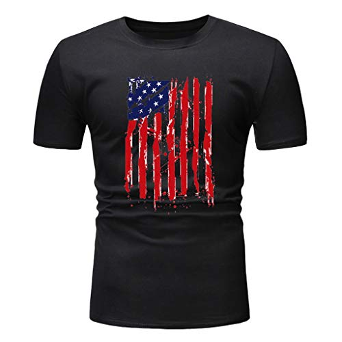 - Nuewofally Mens T-Shirts Graphic Tees Independent Day American Flag Printed Blouse Slim Fit Workut Shirt Top Black