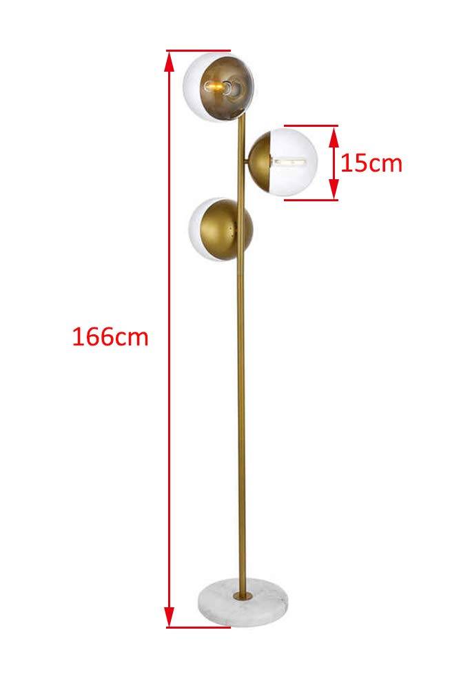 DST Clearing Glass Ball Shade White Marble Base Floor Lamp Light,3 Light Modern Silver Chrome Finish Torchieres for Bedroom Study Room,or Living Room