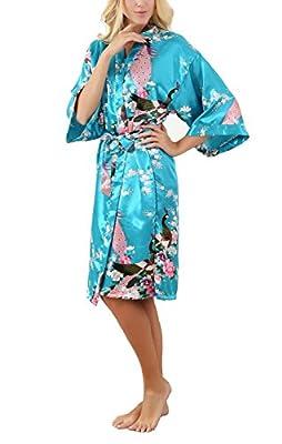 ALLINLOVER Women's Floral Kimono Robe Silk Peacock Printing for Bride and Bridesmaids