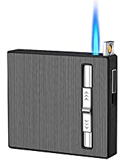 Cigarette Case/Box 3 in 1 with USB Rechargeable Electric Arc Windproof Flameless,Refillable & Adjustable Butane Torch Lighter,Great Gift for Men and Friend. (Black-20pcs)