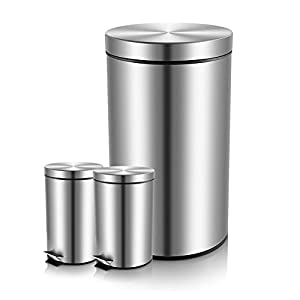 Malmo Round Step Trash Cans with Lids, Brushed Finished Stainless Steel Waste Bins (5-5-30L)