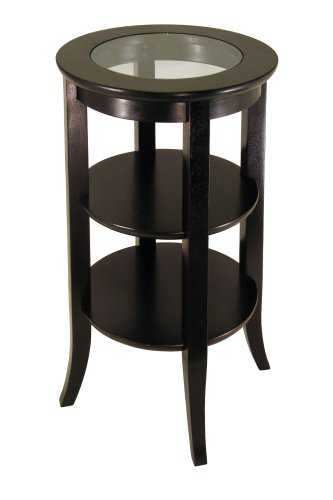 Winsome Wood Round Side Table, Espresso - Round Glass Inset Tall Table