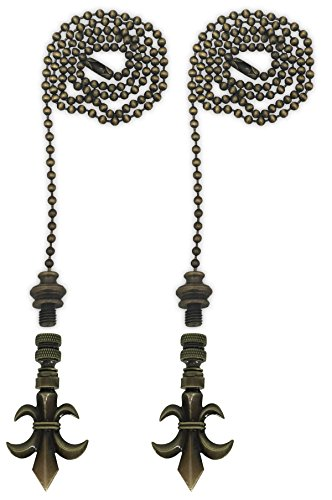 Antique Brass Fleur De Lis (Royal Designs Fan Pull Chain with Fleur De Lis Finial – Antique Brass – Set of 2)