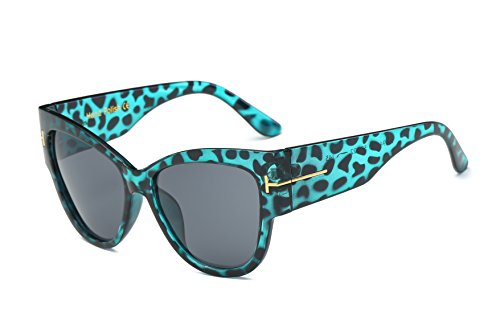 Amomoma Top Fashion Womans Sunglasses Cateye Big Frame UV Protction AM2011 Blue Leopard Frame/Grey - Shades Of In Grey Butterfly