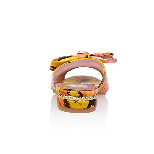 Odomolor Mujeres Puntera Abierta Mini Tacón Colores Surtidos Sin cordones Sandalias de vestir Amarillo