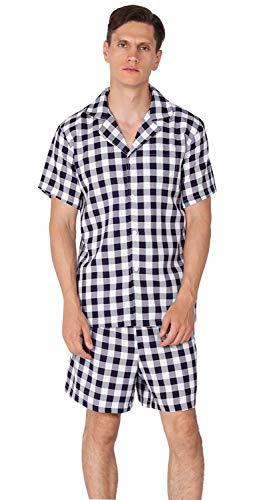 YIMANIE Men's Pajama Set Soft Cotton Short Sleeves and Shorts Classic Plaid Sleepwear Lounge Set Navy