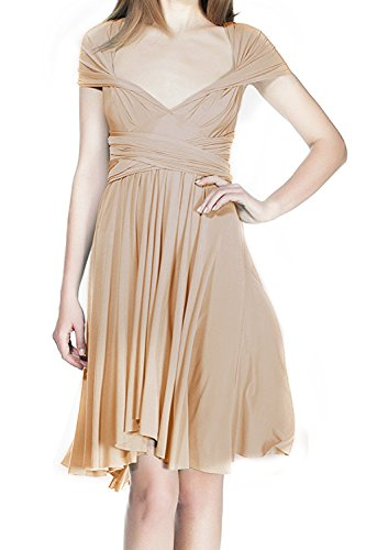 Women Summer Short Convertible Bridesmaid Dresses Formal Evening Cocktail Transformer Infinity Gown Party Ball Prom Elegant Multi Way Straps Wrap Bohemian Wedding Dresses Apricot M -