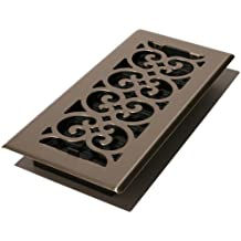 Decor Grates SPH410-NKL 4-Inch by 10-Inch Scroll Floor Register, Brushed Nickel
