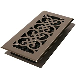 Decor Grates SPH414-NKL 4-Inch by 14-Inch Scroll Floor Register, Brushed Nickel
