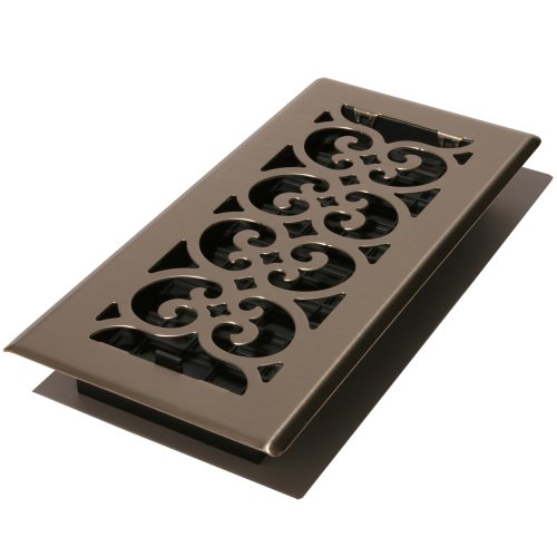 NKL 4-Inch by 10-Inch Scroll Floor Register, Brushed Nickel ()