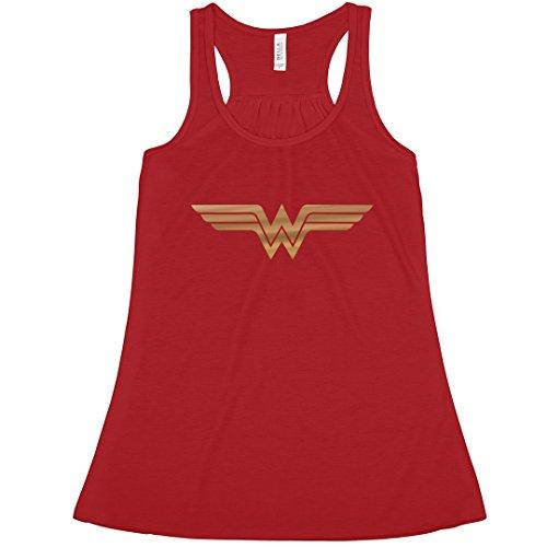 (Simple Gold Metallic Wonder Woman: Bella Ladies Flowy Metallic Racerback Tank)