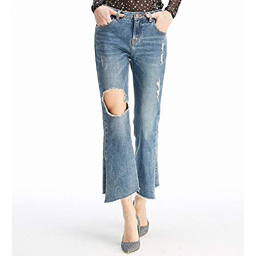 Mvguihzpo Donna Spacco Nove Xl Cowboy Blu Vita Irregolare S Jeans A Buchi Nuovi Punte Jeans rrBqnw5xZC