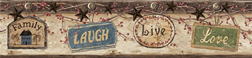 Love Wallpaper Border - Chesapeake CTR63151B Kinsey Blue Live Laugh Love Wallpaper Border