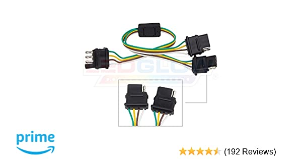 Ledglow Flat 4 Pin Y Splitter Adapter Trailer Harness For Led Tailgate Light Bars Automotive