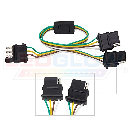 (LEDGlow Flat 4 Pin Y-Splitter Adapter Trailer Harness - For LED Tailgate Light Bars)