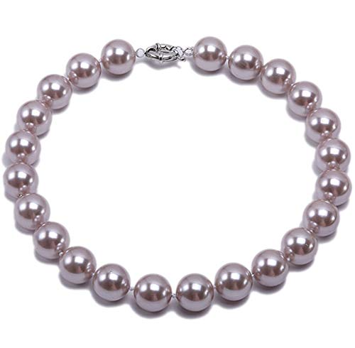 (JYX Pearl 10mm Genuine Light Purple South Sea Shell Pearl Round Beads Necklace 18'')