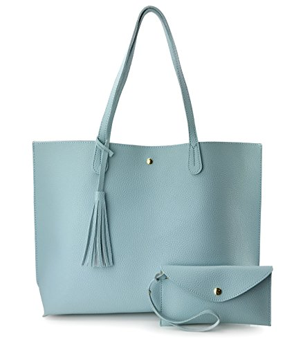 Minimalist Clean Cut Pebbled Faux Leather Tote Womens Shoulder Handbag (Sea Blue)