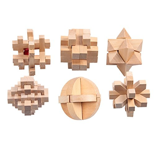 Classical 3D Intellectual Puzzle,Early Education Toys Set 6 Packed, Puzzles for Teens and Adults, Small Portable Family Game, Improve Problem-solving Ability, Relieve Pressure (Wood color)