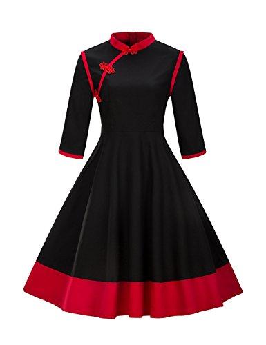 para Negro Manga Mujer Larga Mao Trapecio Vestido Cuello VKStar n84qFYOwF