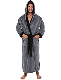Mens Fleece Robe, Long Hooded Bathrobe