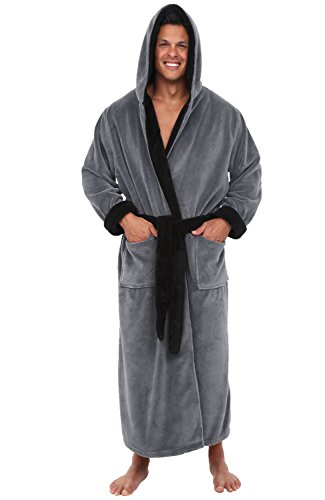 Alexander Del Rossa Men's Warm Fleece Robe with Hood, Big and Tall Bathrobe, Large XL Steel Grey with Black Contrast (A0125STBXL)