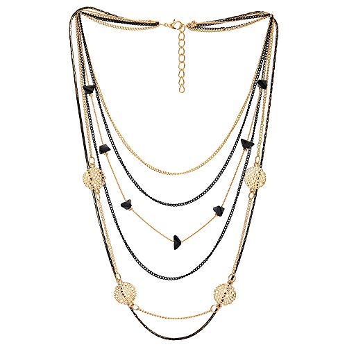 COOLSTEELANDBEYOND Black Gold Statement Collar Necklace Waterfall Multi-Strand Chains Pyramid Bead Circle ()