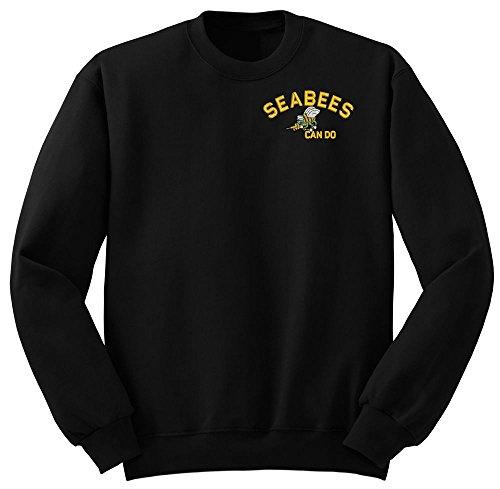 (SEABEES Can do logo Military Crew Neck Sweatshirt X-Large)