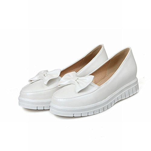 Mostrar Zapatos Shine Mujeres Fashion Sweet Bow Loafer Flats Blanco