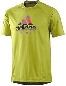 Adidas Men's HIKING DRI-RELEASE LOGO TEE, Color Half Green, (Medium)
