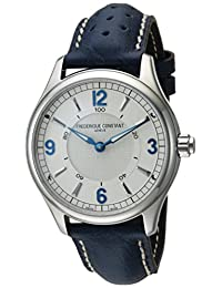Frederique Constant Men's 'Horological Smart' Swiss Quartz Stainless Steel and Leather Casual Watch, Color:Blue (Model: FC-282AS5B6)