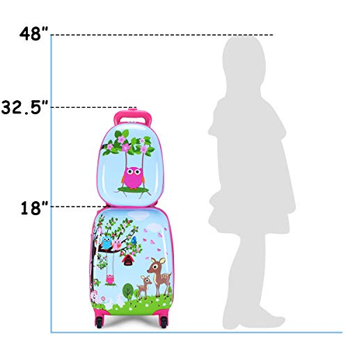 """Goplus 2Pc 12"""" 16"""" Kids Carry On Luggage Set Upright Hard Side Hard Shell Suitcase Travel Trolley ABS (Deer & Birds)"""