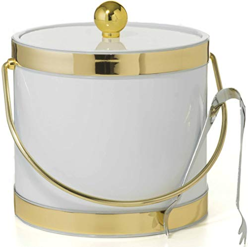 Hand Made In USA White With Dual Gold Bands Double Walled 3-Quart Insulated Ice Bucket With Bonus Ice Tongs