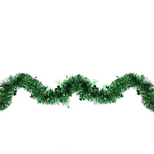 Northlight 9' Pre-Lit Irish Shamrock St. Patrick's Day Tinsel Garland - Green (St Patricks Day Lights)