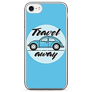 iPhone 7 Transparent Edge Phone Case Vintage Orange Travel Away Phone Case Van iPhone 7 Cover with Transparent Frame