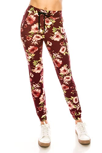 ings Jogger Sweatpants - Super Light Skinny Floral Soft Pockets Pants S/M ()