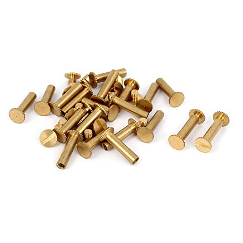 uxcell M5x18mm Photo Albums Scrapbook Slotted Knurling Brass Binding Screw Post 20 Pcs (Album Brass)