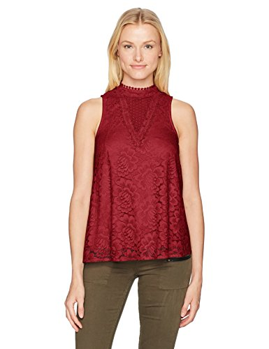 Red Swiss Dot - Taylor and Sage Women's Swiss Dot Mesh Lace Hi Neck Tank Top, Reg Red Gem, Large