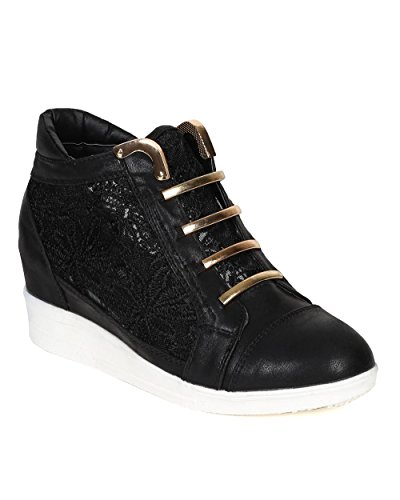 Nature Breeze CD36 Women Leatherette Lace Metal Accent Wedge Fashion Sneaker – Black Leatherette (Size: 7.0)