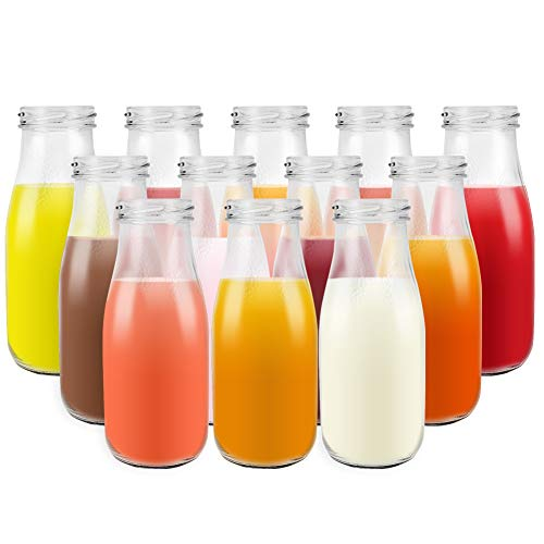 12 pack 11 oz / 330ml Clear Glass Milk Bottles with Tinplate Lids. Sturdy Juice Drinking Bottles for parties and Breakfast, Perfect containers for Kids.]()