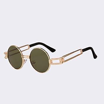 TIANLIANG04 Lunettes de soleil femmes ronde en métal de l'or Retour du mode Lunettes lunettes de luxe hommes qualité UV400,Gold w gra brown