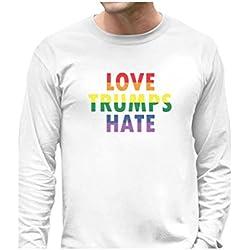 Love Trumps Hate Gay & Lesbian Pride Anti Trump Long Sleeve T-Shirt Medium White