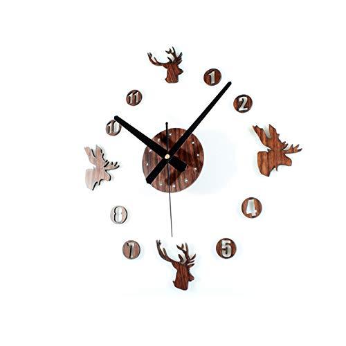 Wall Clocks - Fashion Retro 3d Diy Wall Clock Pastoral Deer Home Decoration Art Decor Horloge Reloj De Pared - Home Motion Neon Vintage Peacock Oversized Zones Outdoor Room Guitars Musical Nois