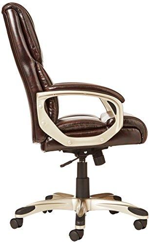 AmazonBasics High-Back Executive Swivel Chair - Brown with Pewter Finish by AmazonBasics (Image #3)