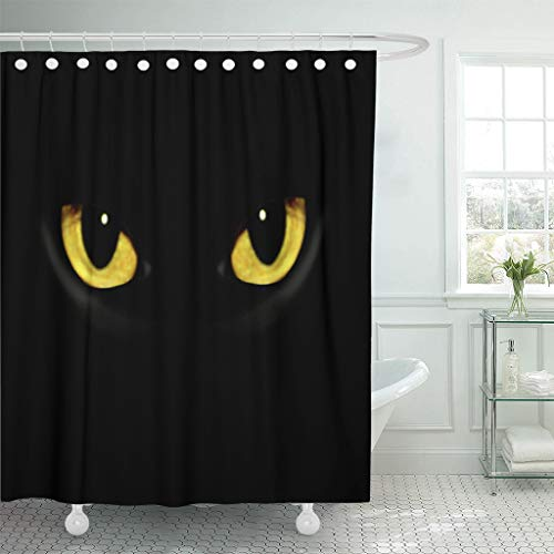 Emvency Fabric Shower Curtain with Hooks Yellow Panther Cat Eyes in Dark Night Green Black Animal Halloween Spooky Glow Wild 60